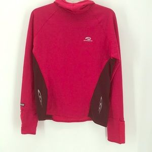 BROOKS RUNNING GEAR RED/BLACK PULL-OVER HOODIE M